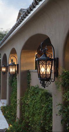 Tuscan design – Mediterranean Home Decor Mediterranean Style Homes, Spanish Style Homes, Spanish House, Mediterranean Architecture, Spanish Colonial, Mediterranean Lighting, Exterior Lighting, Outdoor Lighting, Outdoor Lamps