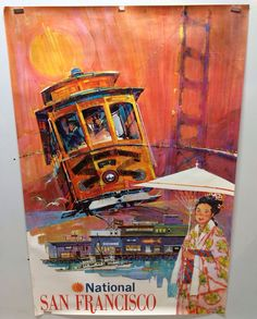 "Original Vintage Travel Poster National Airlines San Francisc 28x42""1960'S 