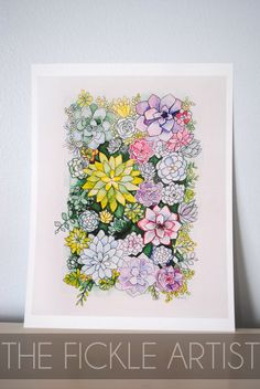 Watercolor Succulents Print by TheFickleArtist on Etsy https://www.etsy.com/listing/219751646/watercolor-succulents-print