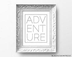 Adventure Quote Typography Print Neutral Wall by BlackstarPress