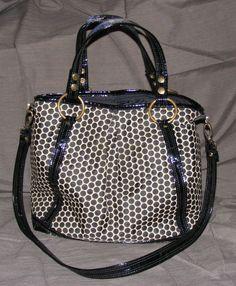 Mia Bossi Black & White Polka Dot Diaper Bag, Lyndsey White Cocoa, Waxed Canvas #MiaBossi