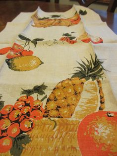 Vintage Fruit Line Tea Towel  Brand New by MemphisNanney on Etsy, $10.50