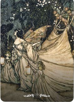 Titania is ready to meet Oberon. Arthur Rackham illustration from A Midsummer Night's Dream I'm usually not into fairies, but the regal posture of Titania and moody use of blues-versus-yellows make this worthwhile. Arthur Rackham, Botanical Illustration, Fairytale Art, Midsummer Nights Dream, Fairy Art, Oeuvre D'art, Illustrators, Fantasy Art, Fairy Tail