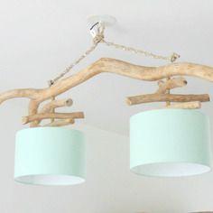 Lustre/plafonnier en bois flotté - vert scandinave 28 cm - création unique - double suspension - led