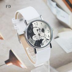 FD mickey mouse Pattern Fashion Women Watch 2017 New Casual Leather Strap Clock Girls Kids Quartz Wristwatch relogio feminino