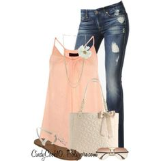 Casual denim paired with a summer peach top
