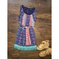 NWT Adorable Printed Dress with Belt NWT As U Wish printed dress with teal belt! Perfect for spring! As U Wish Dresses