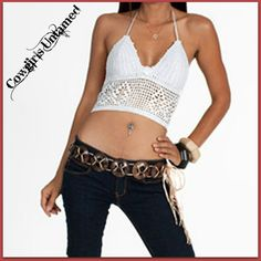 WILD FLOWER TOP White Lace Up Back Crochet Lace Padded Halter Top / Bikini Top