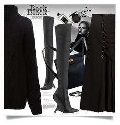 """All black"" by laste-co ❤ liked on Polyvore featuring Serge Lutens, Hermès, Faith Connexion, Proenza Schouler, MAC Cosmetics and totalblackout"