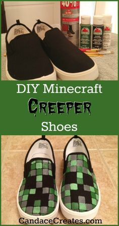 Do your kids love Minecraft? Check out these easy to make DIY Minecraft creeper shoes! Minecraft Halloween Costume, Creeper Costume, Minecraft Costumes, Diy Halloween Costumes, Halloween 2020, Family Halloween, Halloween Crafts, Halloween Ideas, Costume Ideas