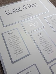 Silver and ivory table plan incorporating personalised foiling - theme continued from invites