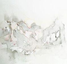 50 of 100, #100littleartworks series by Lesley Frenz, watercolor on vellum, 6x6 #abstractart #watercolors #modernart #interiordesign