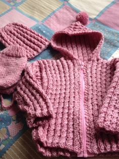 Baby cable hand knitted hoodie