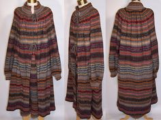 1970s Vintage Missoni Knit Striped Wool Mohair Long Sweater Coat & Skirt Italy