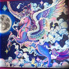 A closer look:). #kerbyrosanes #mythomorphia #imagimorphia #animorphia #pegasus #color #colour #coloring #colouring #coloringbook #adultcoloring #adultcoloringbook #artoftheday #art #colorjoy #moon #magic #magical #mythology #sky #night #nightsky #coloring_masterpieces #pink #purple #blue #violet #beautiful #beauty
