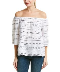 fbea3fa40467e Michael Stars Womens Daisy Print Double Gauze Off The Shoulder Top White S      See this great product.