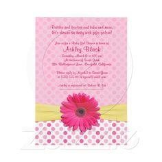 Pink Polka Dot Gerber Daisy Baby Shower Invitation from Zazzle.com
