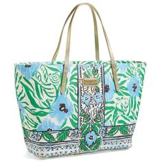 Women's Lilly Pulitzer 'Resort' Tote ($130) ❤ liked on Polyvore featuring bags, handbags, tote bags, purses, coated canvas tote, tote purse, hand bags, man travel bag and water resistant tote