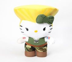 "... Not sure if this is awesome or an abomination...Street Fighter x Hello Kitty 11"" Plush: Guile"