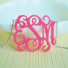 pink monogram necklace