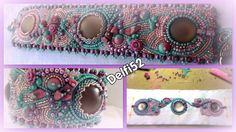 bead embroidery bracelet  (15/0-11/0-8/0 seed beads, piggy beads, rulla beads, superduo beads, chips, 3 luna soft  cabochon)