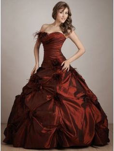Red feather Gothic Wedding Dress