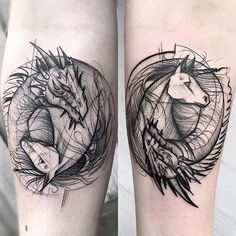 Brother and sister tattoos. the same design , but done differently______ Done by Frank Carrilho