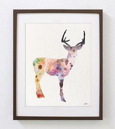 Illustration - Pink Deer - Fine Art Prints and Art Posters, Watercolor Painting Deer Drawing, Minimalist Art, Colorful Wall Art
