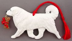 Great Pyrenees Dog Ornament Christmas Gift Idea at For Love of a Dog. Handmade in the USA Pyrenees Puppies, Great Pyrenees Dog, Samoyed Puppies, Dog Christmas Ornaments, Christmas Dog, Christmas Shirts, Dog Love, Puppy Love, Dog Jewelry