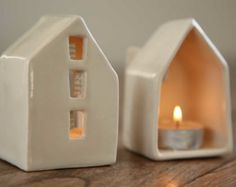 Ceramic Candle Holder Love Houses