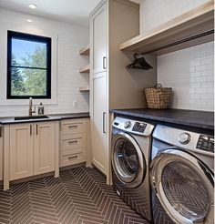 Laundry room transitional-laundry-room-with-herringbone-floor-tile-and-floating-shelf-above-drying-rod-verandainterior