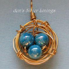 Handmade Wirewrapped Birds Nest Pendant Brass by denssilverlinings, $22.00