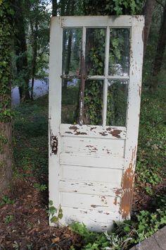 vintage white chippy paint door