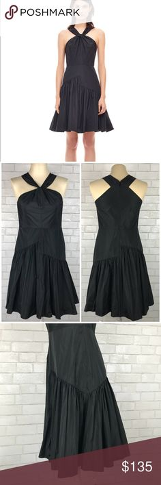 """Rebecca Taylor Knot Neck Taffeta Dress New with tags Rebecca Taylor Knot Neck Taffeta Dress. Size 8. Fitted bodice with a Flared A-Line silhouette. Lightweight with a halter neckline, back zipper. 100% polyester fully lined in the same. Bust 37"""", Waist 31"""", hips 38"""", length 42"""". Black. No trades, offers welcome. Rebecca Taylor Dresses"""