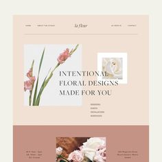 Pale pink and a soft blush are mixed with feminine visuals and a simple, modern and sophisticated logo design for this elegant floral brand and florist business web design. The branding and website come with elegant, timeless femininity. Web Design Trends, Design Sites, Homepage Design, Design Blog, App Design, Layout Design, Logo Design, Resume Design, Flat Design