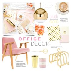 """""""Blush and Gold Office Decor"""" by alexandrazeres ❤ liked on Polyvore featuring interior, interiors, interior design, home, home decor, interior decorating, Sugar Paper, Kate Spade, Fine & Candy and HAY"""