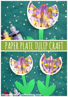 Paper Plate & Paint Splat Tulip – Craft Idea For Spring - Frühling - - Spring Art Projects, Spring Crafts For Kids, Summer Crafts, Projects For Kids, Art For Kids, Spring Crafts For Preschoolers, Project Ideas, Garden Projects, Crafts For Babies