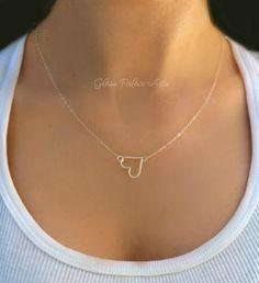 Petit coeur Collier  coeur en argent Collier  par GlassPalaceArts
