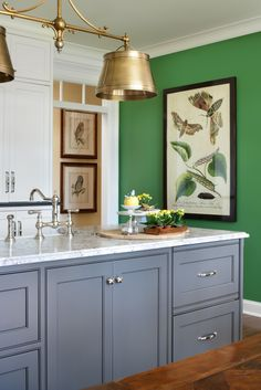 Nell Hills - Green Wall in Kitchen with charcoal grey cabinetry.