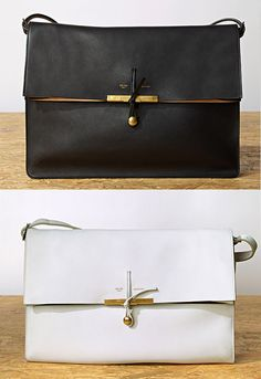New designs for Céline's Summer 2011 bags. This Clasp Calfskin Shoulder Bag