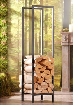 Kaminholzregal Home Affaire Kaminholzregal Home Affaire für Dekoratives und praktisches Holzregal Stabile Konstruktion Stilvoles Highlight Aus Metall bei OTTO The post Kaminholzregal Home Affaire appeared first on Stauraum ideen. Indoor Firewood Rack, Firewood Holder, Firewood Shed, Wood Burning Fires, Storage Design, Diy Storage, Garden Tools, Easy Diy, Outdoor