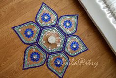 Diwali Rangoli Diwali Table Decor Rangoli in Blue Light by Likla DIWALI 2014