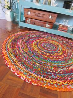 Vintage Style Braided RAG RUG MAT Retro Industrial Eclectic Cotton 120cm DIA | eBay