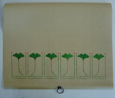 "Roller shade with Ginkgo Border (small), repeat is 7 1/4""W x 6""H"