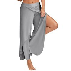 High Split Wide Leg Pants Asymmetric Flowy Trousers