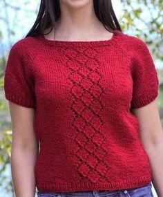Free pattern Seamless Lace Tee | AllFreeKnitting.com