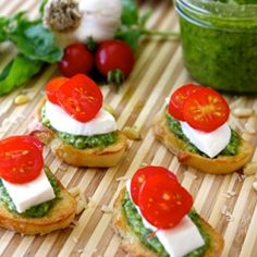 Homemade Pesto Bruchetta is just about as good it gets! Healthy and Delicious.