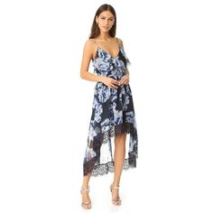 Talulah Abloom Midi Dress ($285) ❤ liked on Polyvore featuring dresses, elusory floral print, sleeveless midi dress, mid calf cocktail dresses, short in front long in back dress, short front long back dress and mid calf dresses