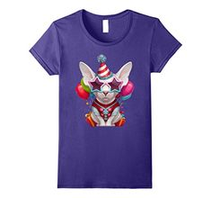 crazy cat woman glasses - Womens Sphynx Cat in Glasses Birthday T-Shirt XL Purple * Check out the image by visiting the link. (This is an affiliate link) #CrazyCats
