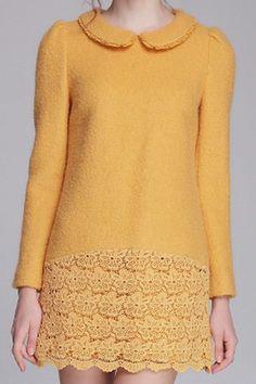 黄色エレガントなドレスドレス、花なの刺繍を特色に! このドレスであなたのワードローブを明るくします。   http://www.harajukuii.com/ja-flower-embroidered-long-sleeves-yellow-dress-p156535.htm